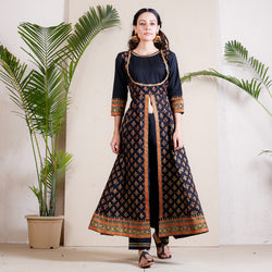 Black Festive Front Slit Kurta Pant Set with Gota Detail