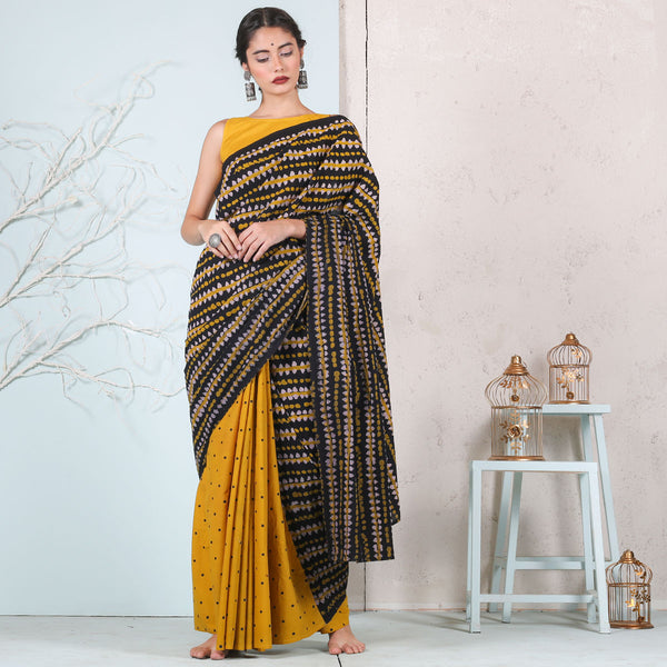 Yellow & Black Retro Cotton Half & Half saree