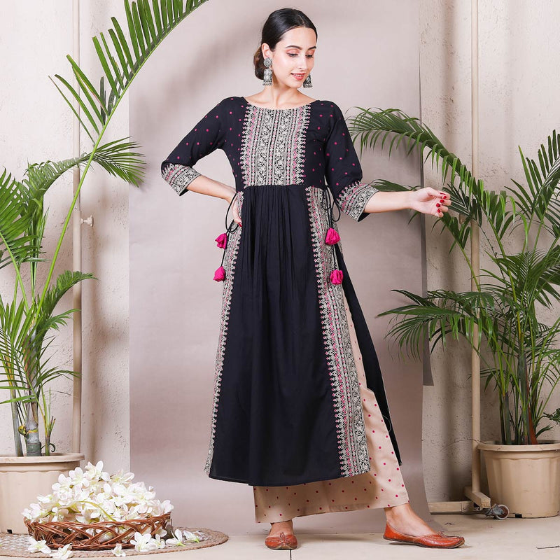 Black & Beige Printed Front Gather Cotton Kurta Palazzo Set with Tassels