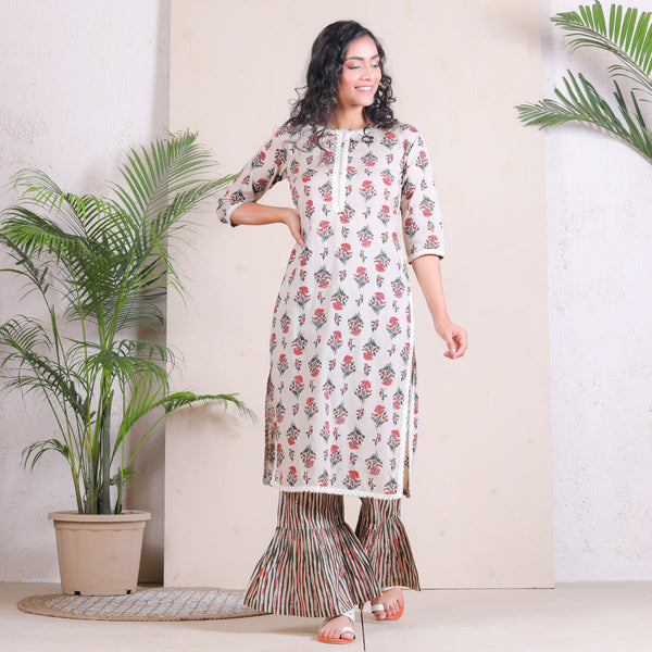 Beige Meadow Floral Frill Pant with Kurta Set