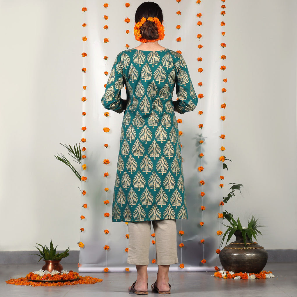 Teal Gold Hand Printed Kurta with Gota Detail on Sleeves