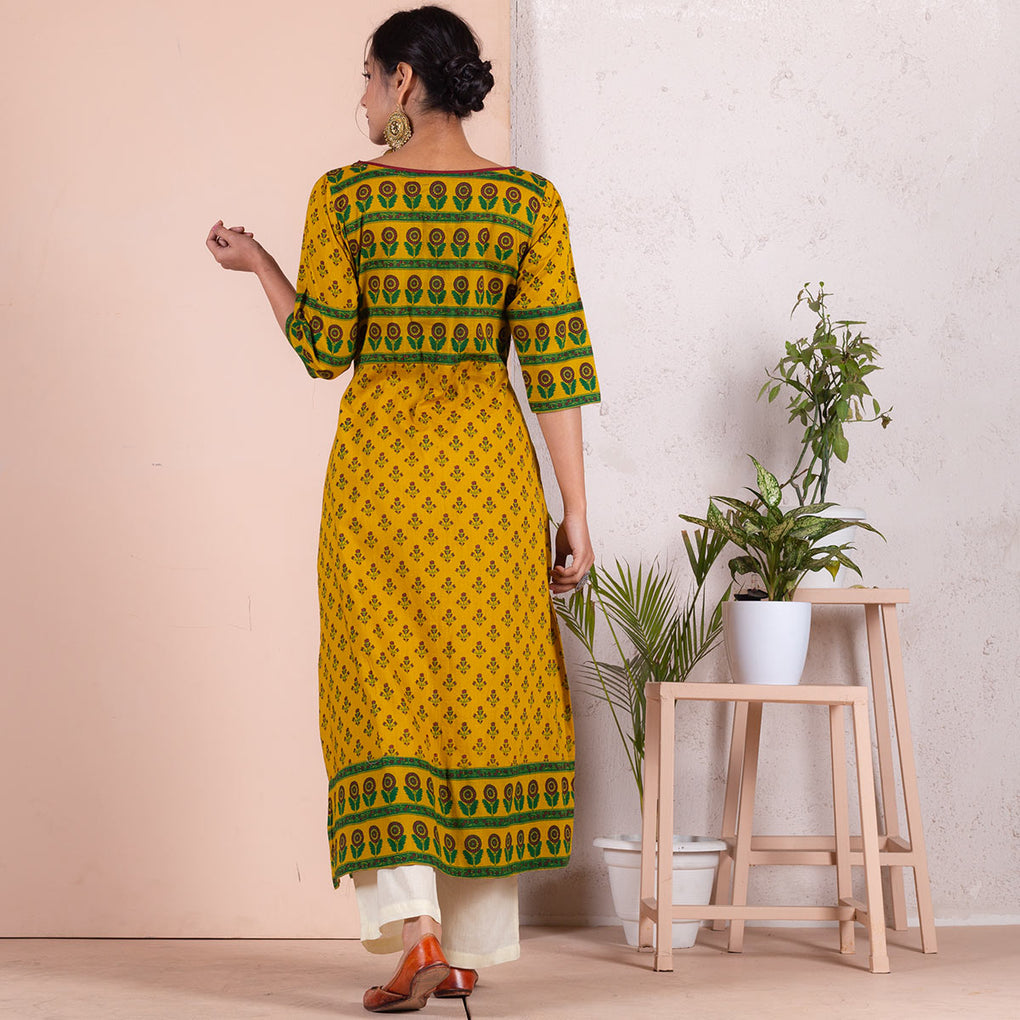 Yellow Meadow Floral Printed Front Slit Straight Cotton Kurta