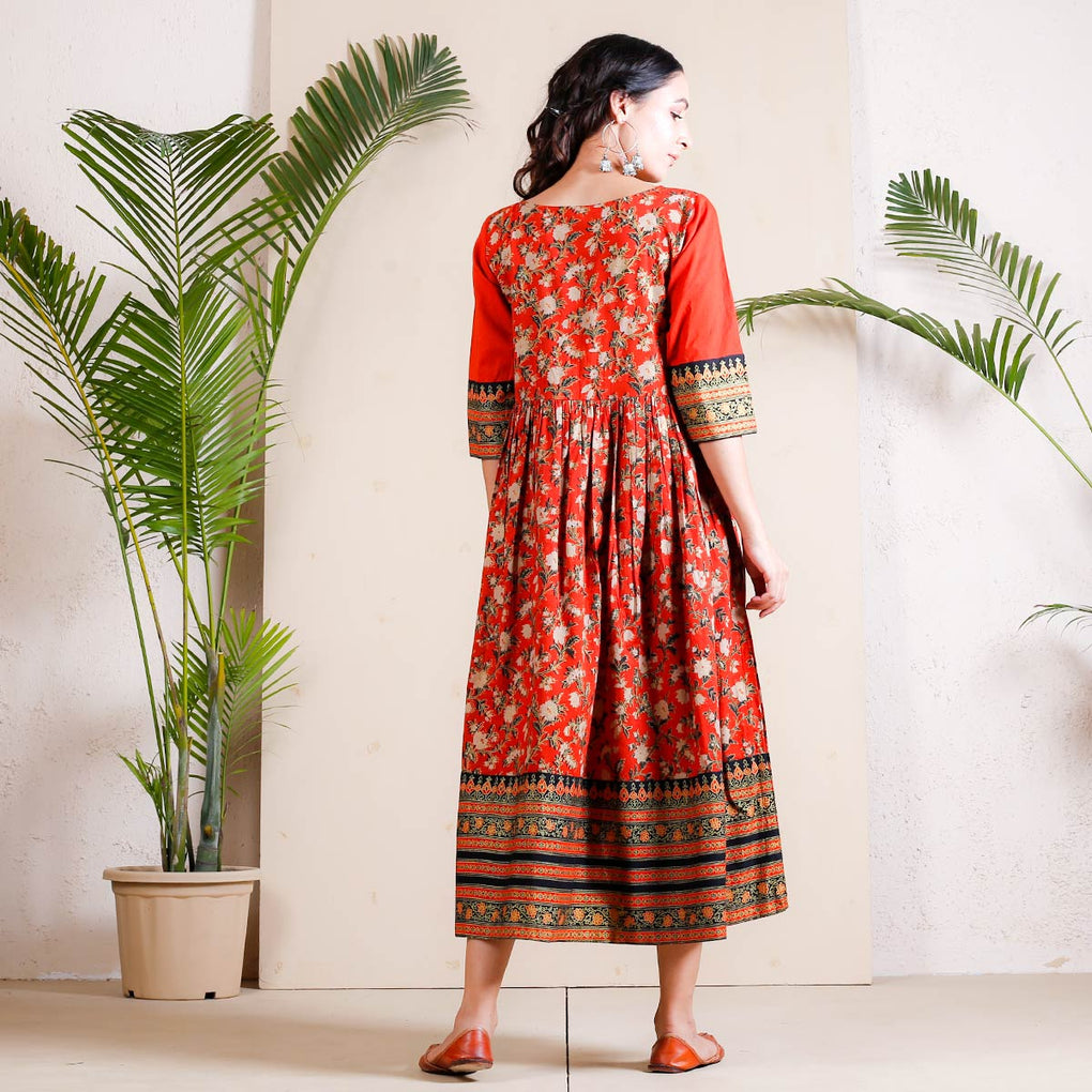 Rust & Gold Gathered Cotton Dress with Border Details