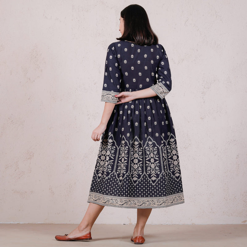 Blue Mughal Floral Gathered Dress