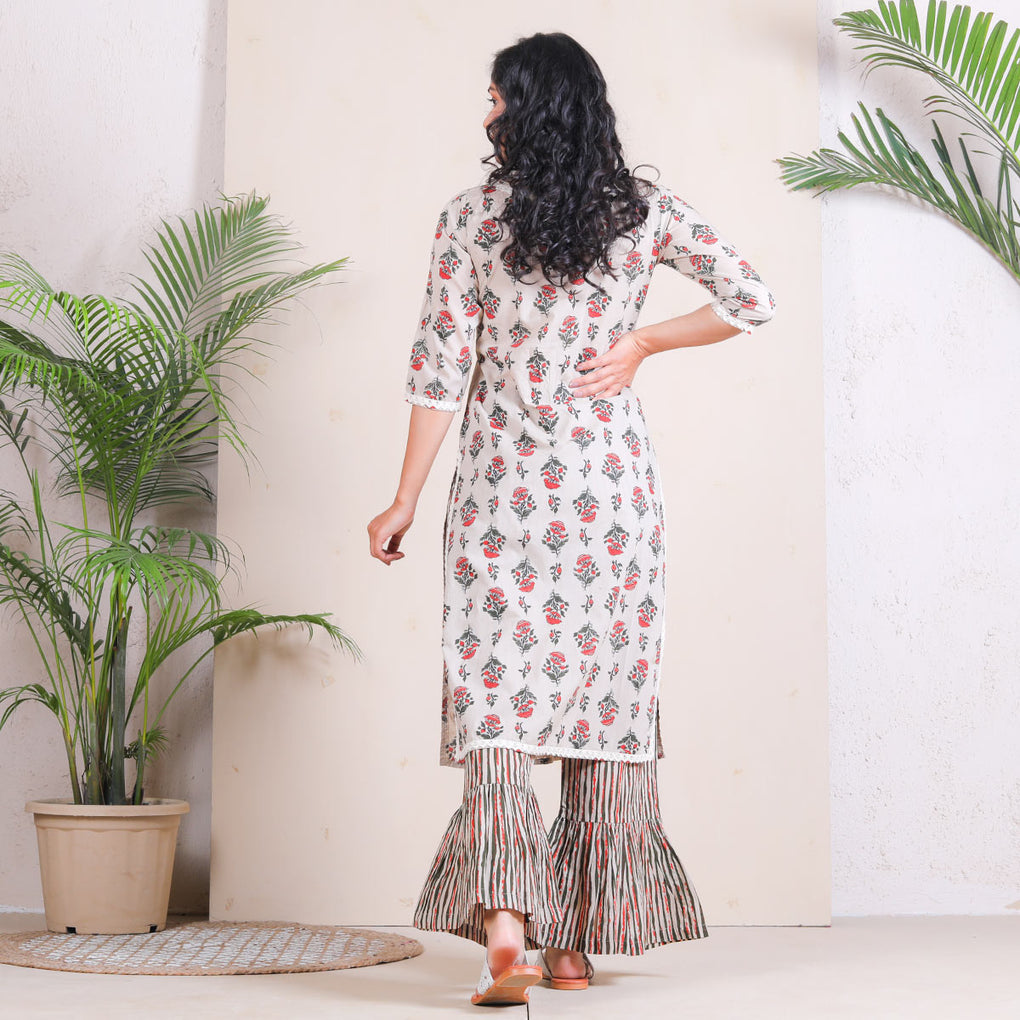 Beige Meadow Floral Frill Pant with Cotton Kurta Set