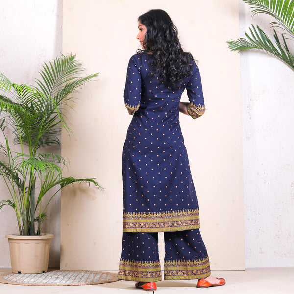 Blue Festive Kurta Palazzo Set with Border Details