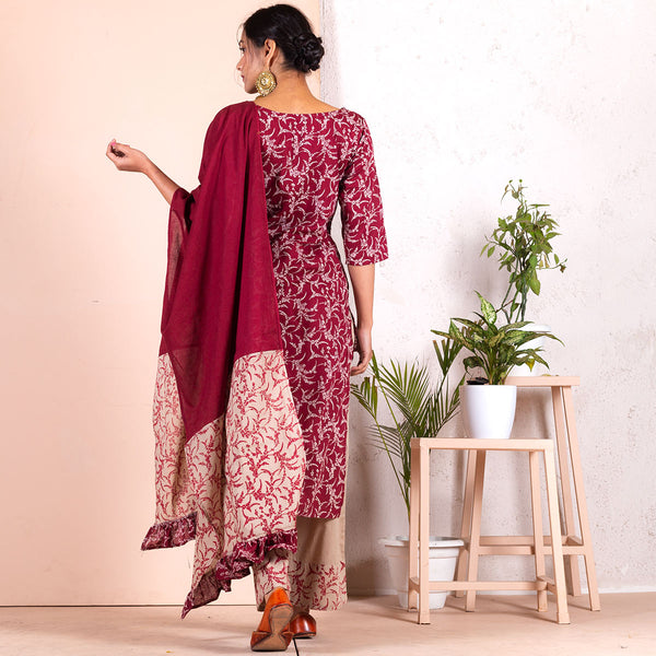 Maroon & Beige Salwar Kurta Set with Maroon & Beige Odhna with Frill Detail
