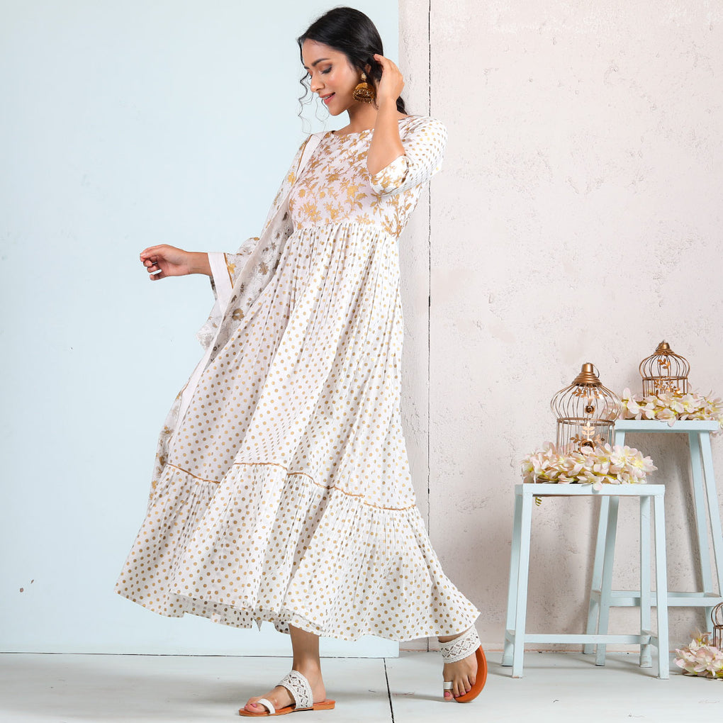 White Gold Gathered Tiered Dress with Odhna