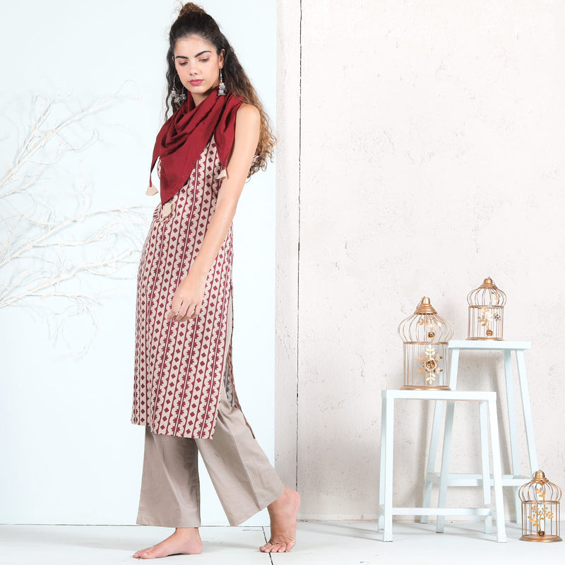 Beige Cotton Strap Kurta with Maroon Scarf