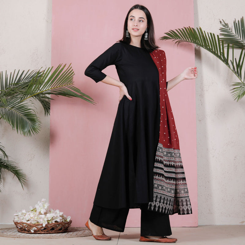 Black Flared Kurta Palazzo Set with Maroon Polka & Black Buta Dupatta