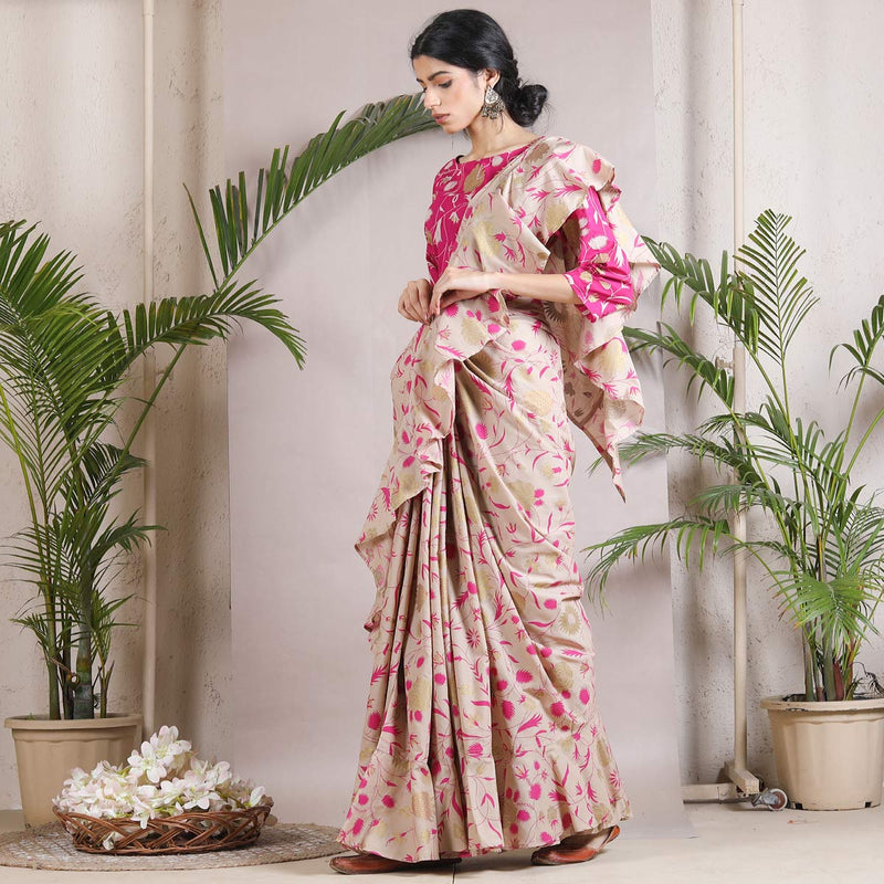 Beige Floral Printed Ruffle Saree