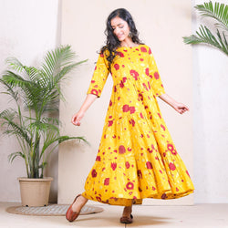 Yellow Floral Printed Tiered Cotton Dress
