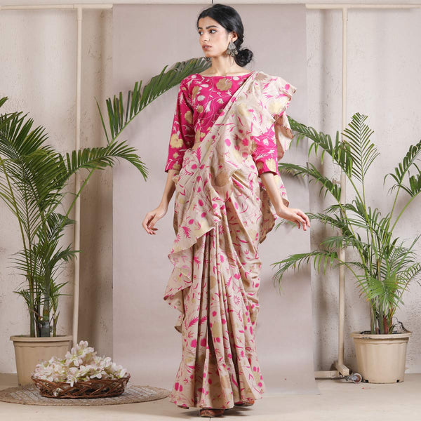 Beige Floral Printed Ruffle Cotton Saree