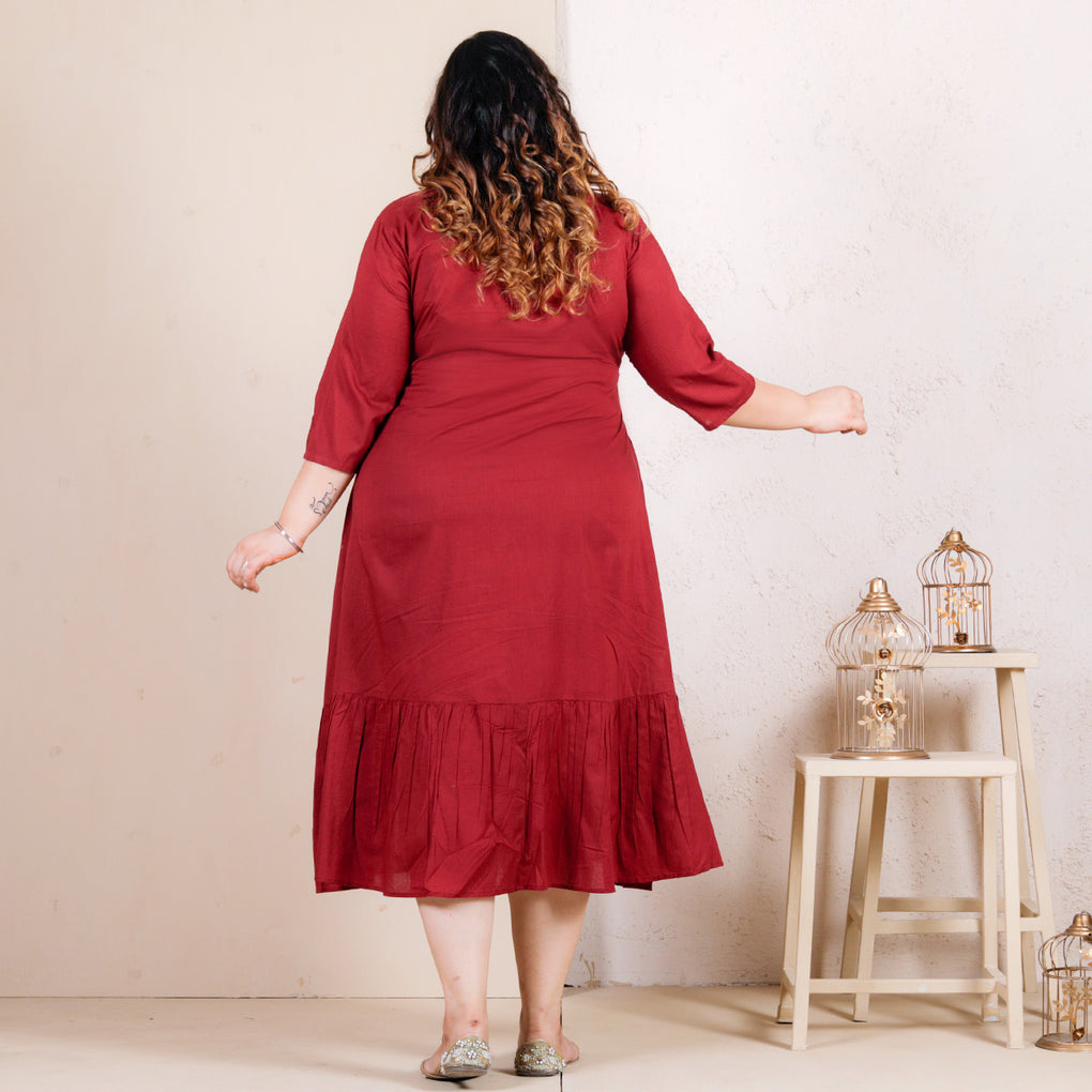 Maroon Panel Dress with Gathered Hem - SOY