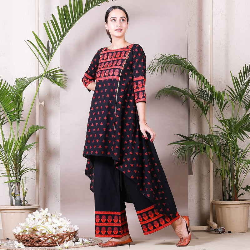 Black Buti Printed Asymmetric Kurta with Palazzo