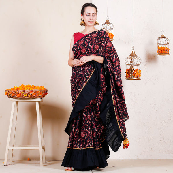 Black Bagh Printed Ruffled Saree with Gota Details & Tassels