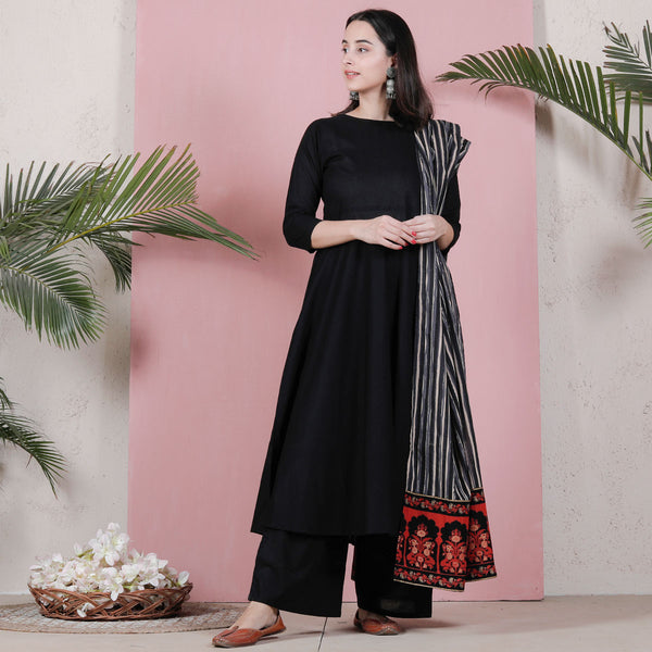Black Flared Kurta Palazzo Set with Black Striped & Temple Border Dupatta