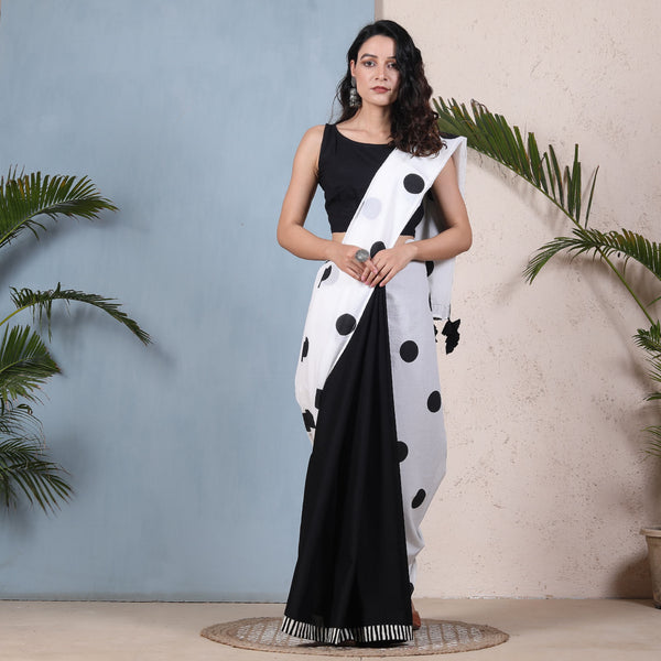 Retro Polka Black & White Half & Half Saree with Tassels