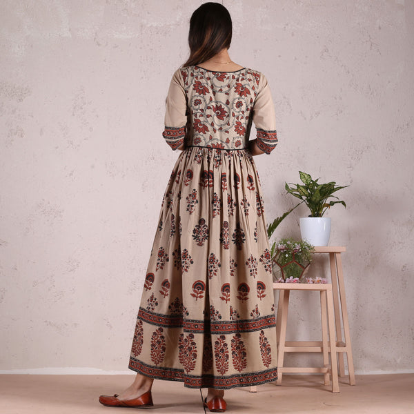 Beige Meadow Floral Gathered Cotton Dress