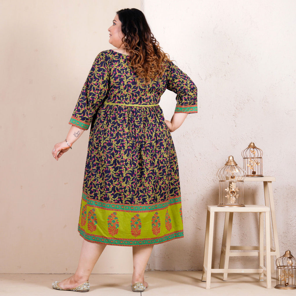 Blue Baghban Printed Gathered Dress - SOY