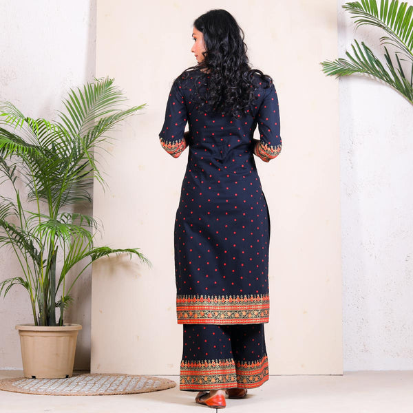 Black Polka Kurta Palazzo Set with Border Details