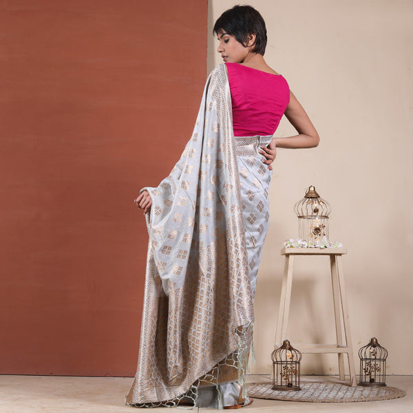 Sky Blue Grey Liva Modal Woven Saree