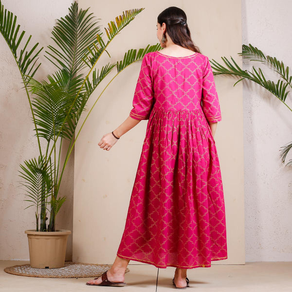 Magenta Gold Printed Festive Gather Cotton Dress