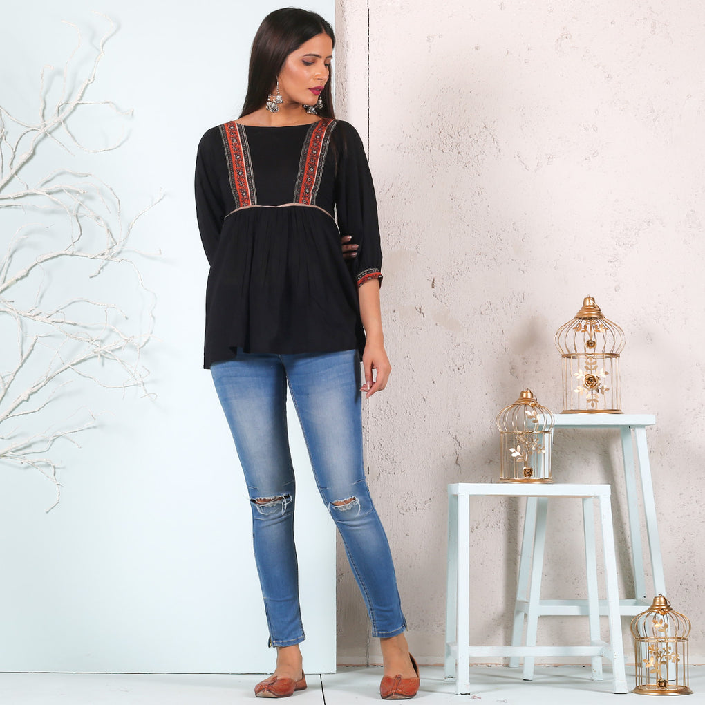 Black Front Gathered Cotton Top with Yoke Detail