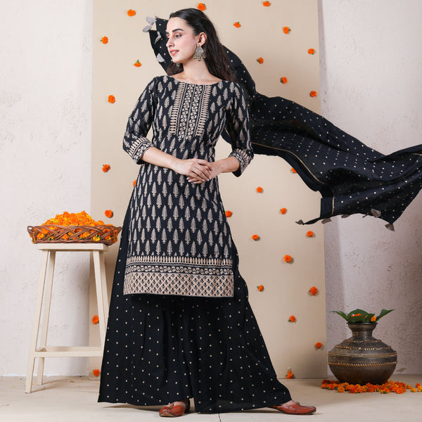 Black Traditional Sharara Kurta Set with Dupatta & Tassel Details