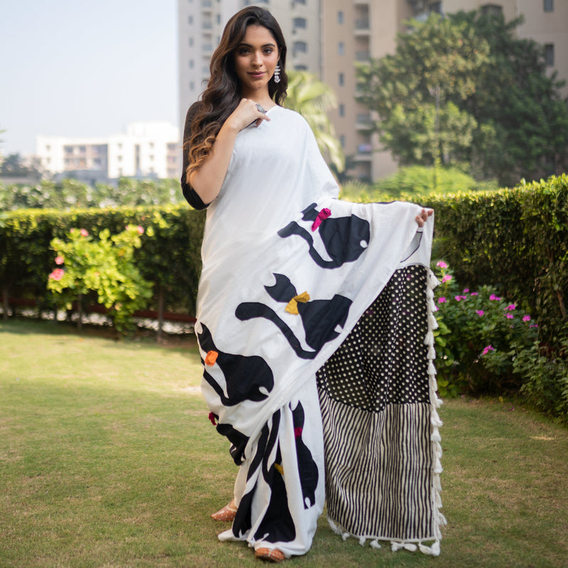 Off White & Black Cat Embroidered Half & Half Saree