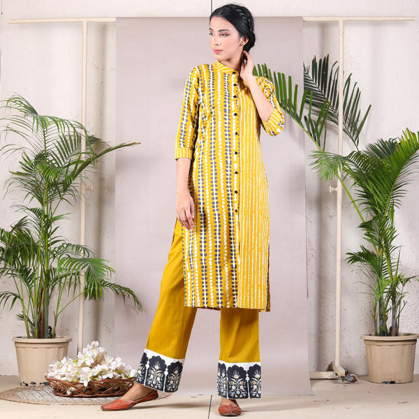 Yellow Striped Front Open Shirt Kurta Set with Temple Border Pants