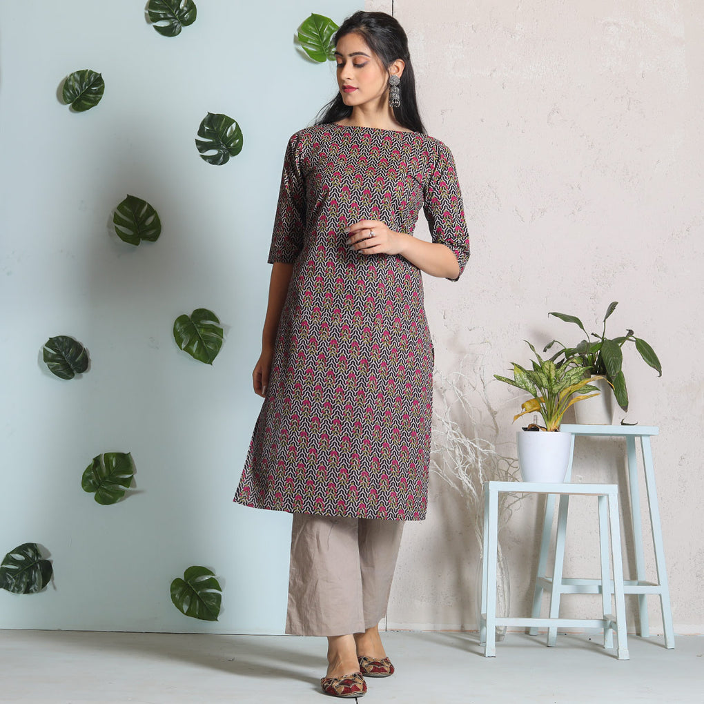 Black with Magenta & Olive Buti Cotton Kurta