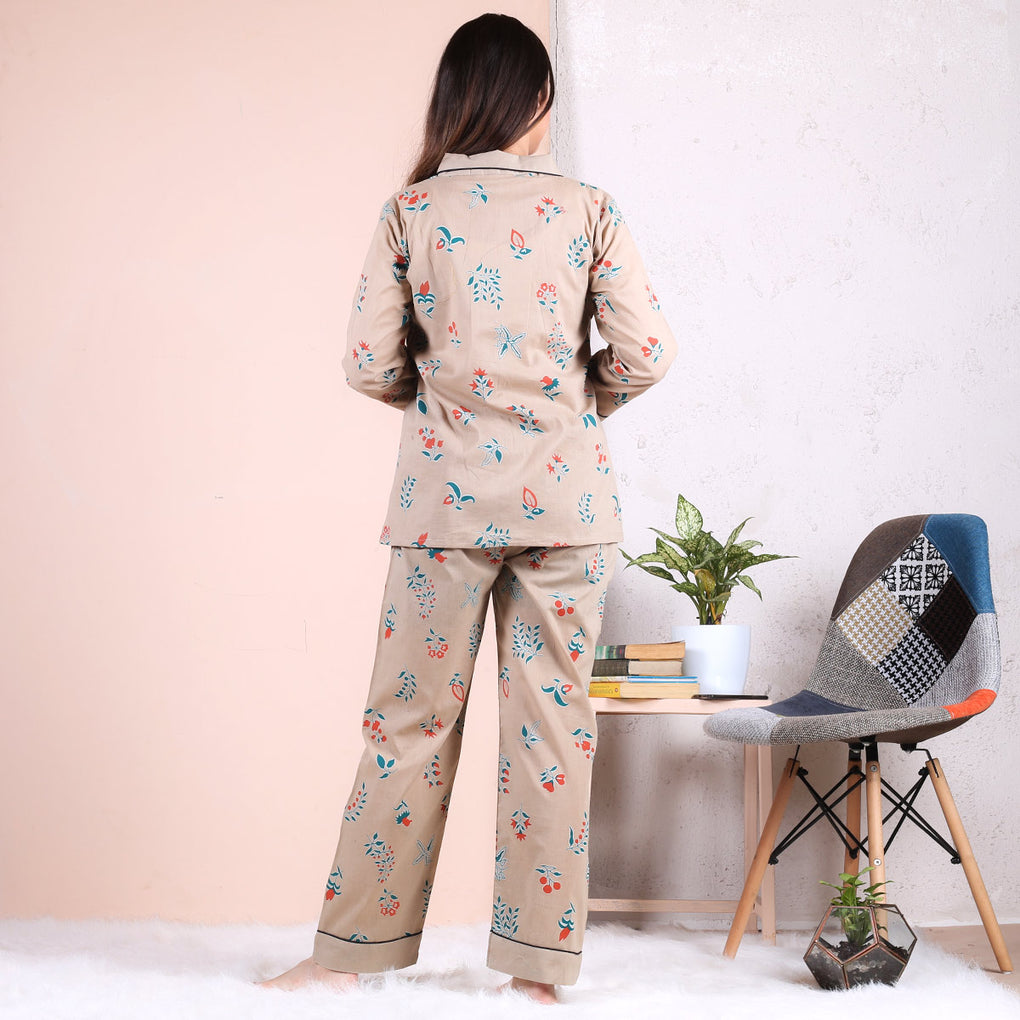 Beige Floral Notched Collar Pajama Set