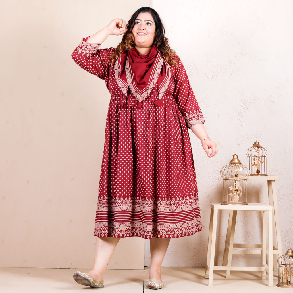 Traditional Polka Gathered Cotton Dress with Scarf & Border Details - SOY