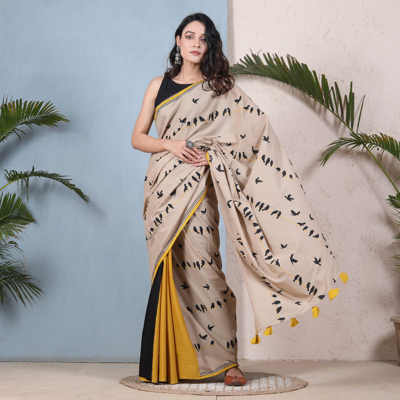 Chirpy Birds Beige Black & Yellow Half & Half Saree
