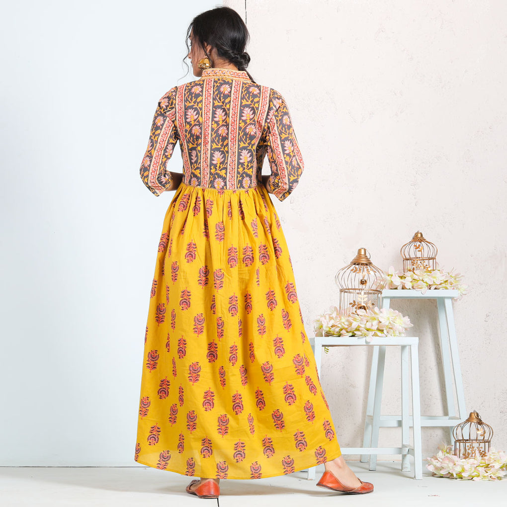 Yellow Sanganer V Neck Cotton Gathered Dress