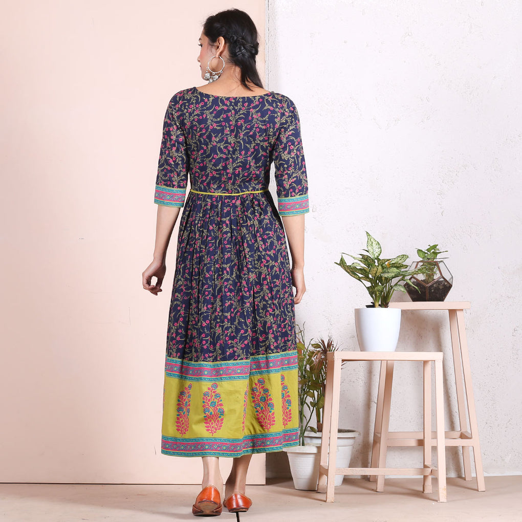 Blue Baghban Printed Gathered Dress