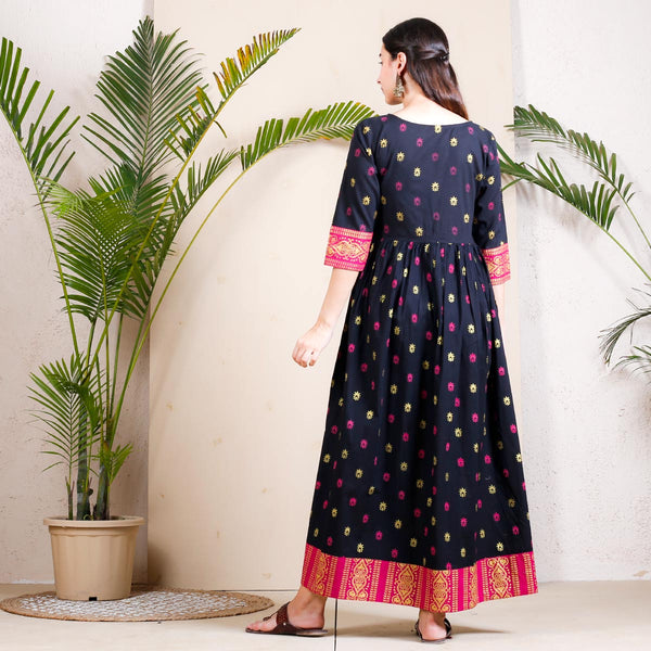 Black Buti Printed Gather Cotton Dress with Border Details