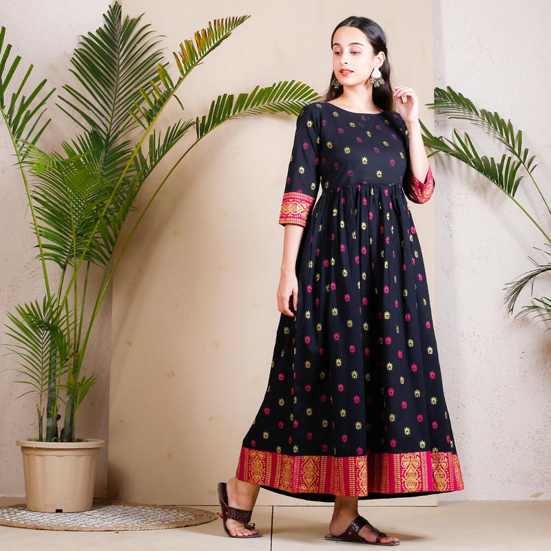Black Buti Printed Gather Dress with Border Details