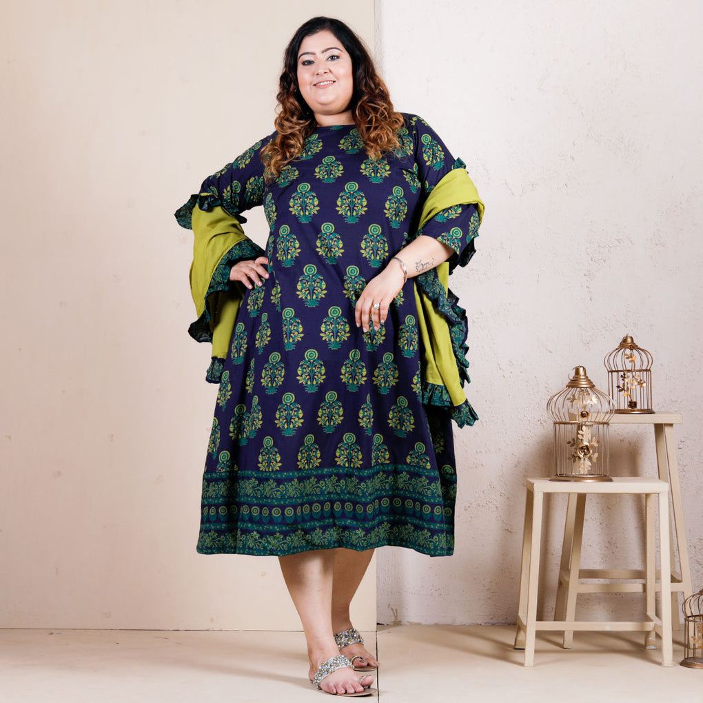 Blue Buta Printed Long Kurti with Olive Dupatta - SOY