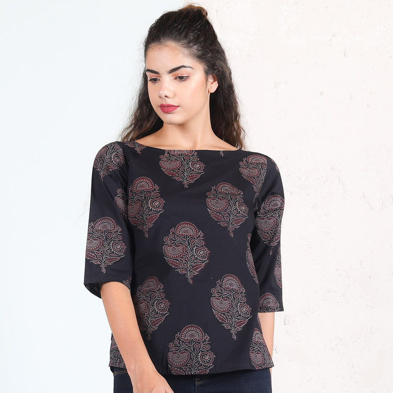 Black & Maroon Buta Printed Cotton Top