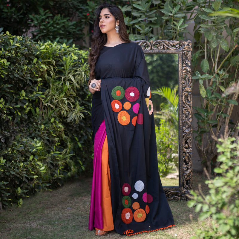 Black with Multicolour Panel Embroidered Half & Half Saree