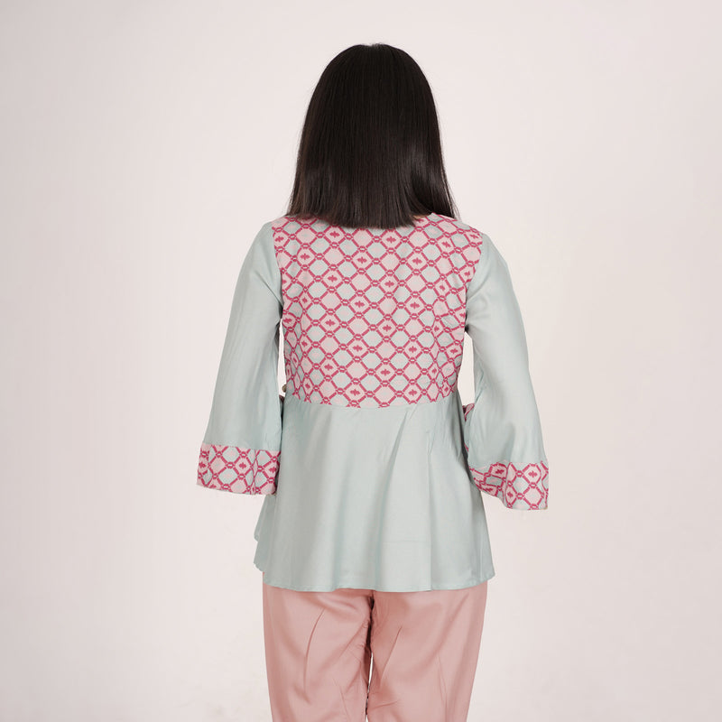 Sky Blue & Pink Ikat Inspired Flared Top