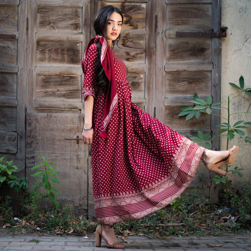 Traditional Polka Gathered Dress with Scarf & Border Details