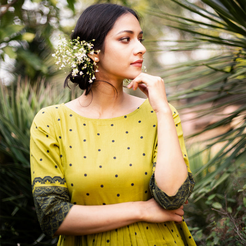Olive Bindi Gather Top with Border Detail