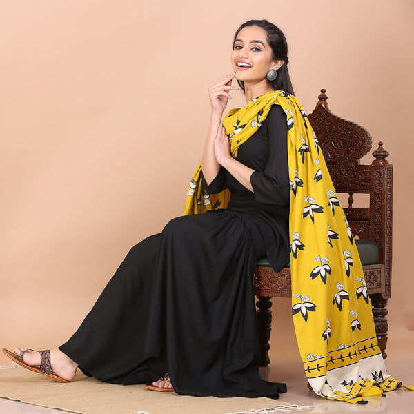 Black Gharara Set with Mustard Dupatta