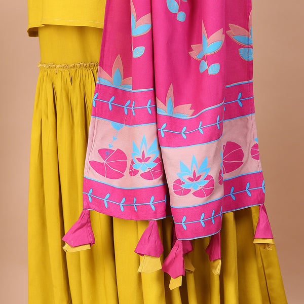 Mustard Gharara Set with Pink Dupatta