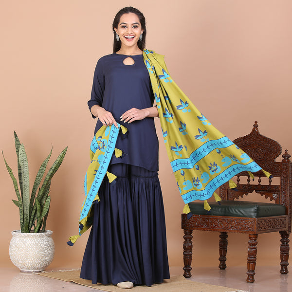 Blue Gharara Set with Olive Dupatta