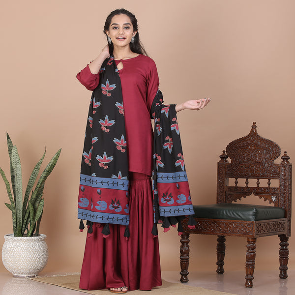 Maroon Gharara Set with Black Dupatta