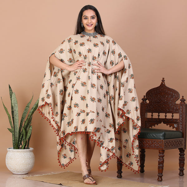 Beige Kaftan Dress